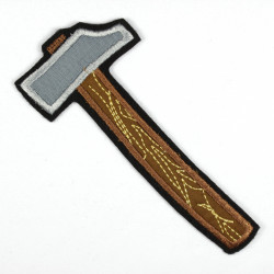 Iron-on patch hammer as an appliqué to iron on or patches and accessories