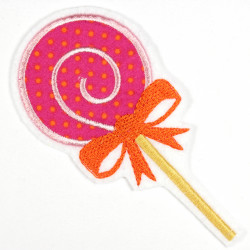 Iron-on raspberry lollipop as iron-on appliqué or patch and accessories