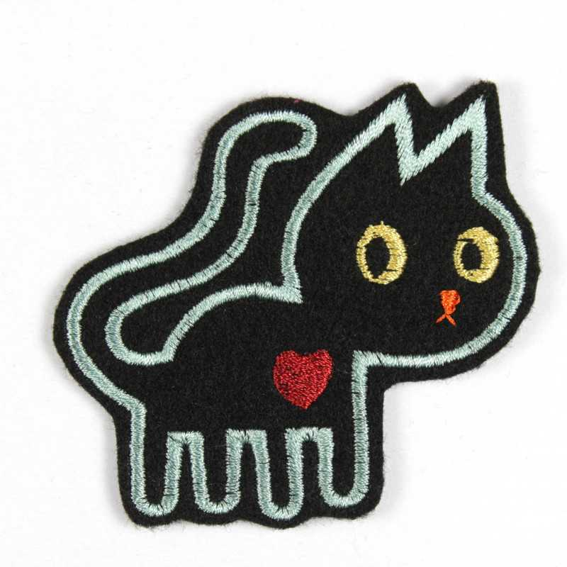 embroidered cat applique black iron-on patches and accessory
