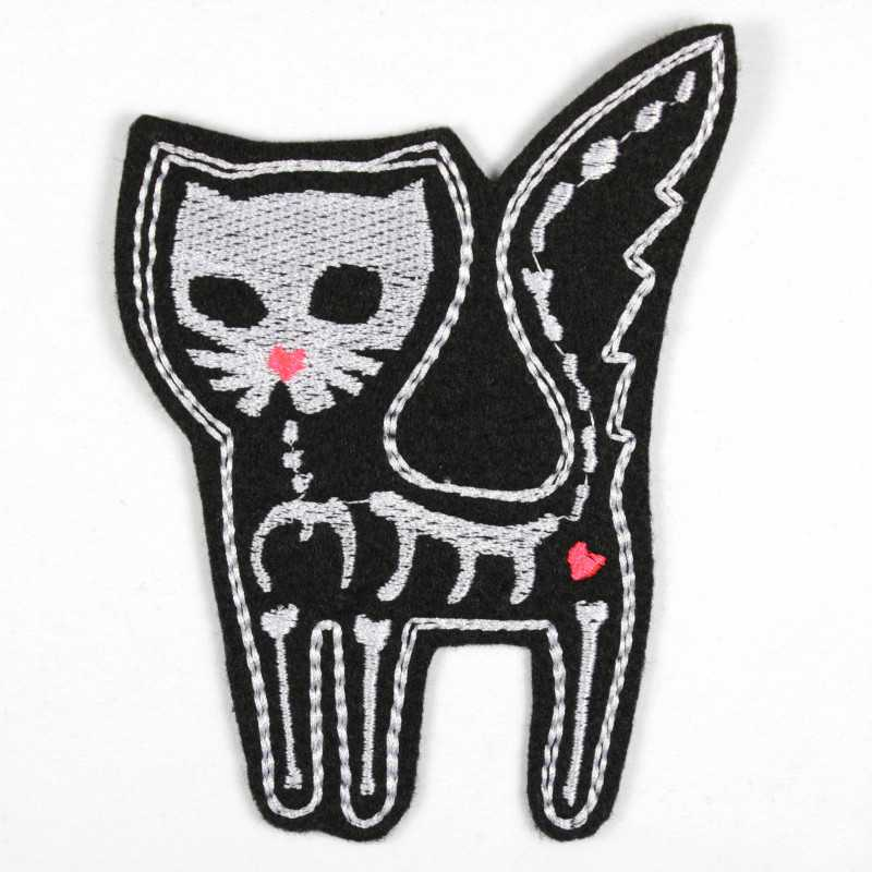 Iron-on patch cat as a skeleton appliqué to iron on or patches and accessories, patches for adults