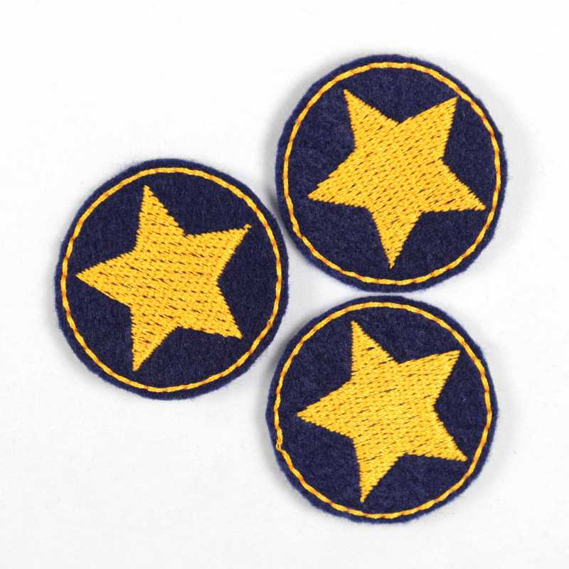 3 iron on patches dark blue round appliques with neon orange star