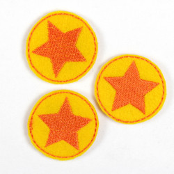 3 yellow appliques round iron on patches with orange star