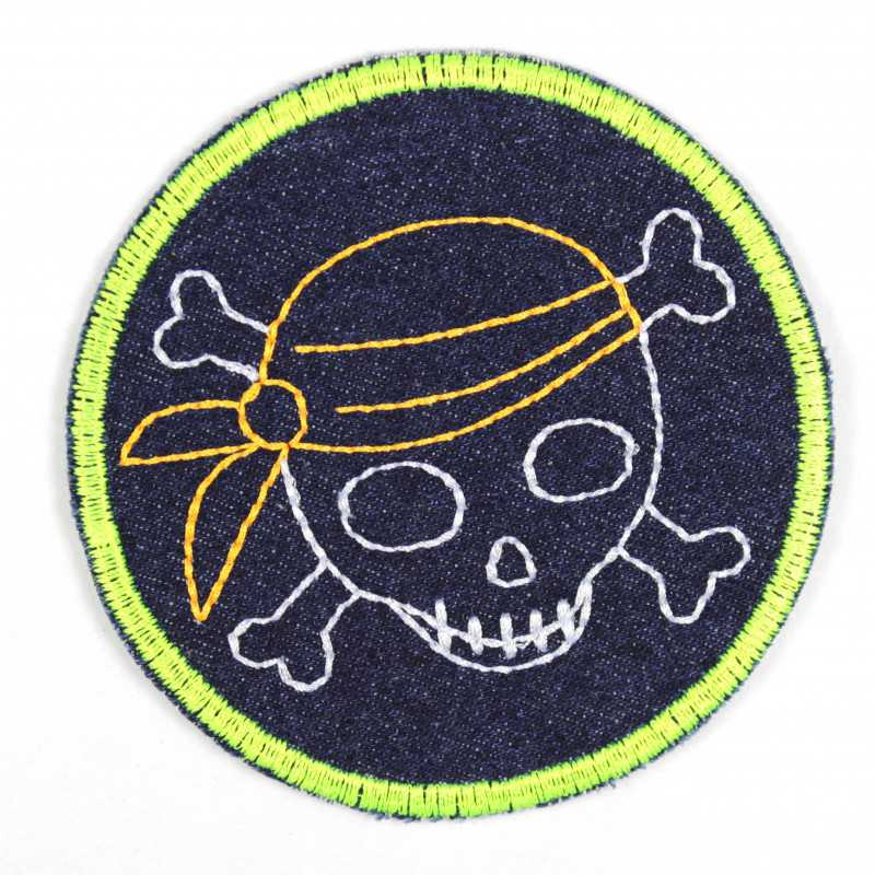 Iron-on patches with embroidered pirate and neon yellow edging on dark blue jeans, ideal as a knee or trouser patch