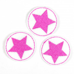 3 iron on patches small white appliques with little pink star embroidery