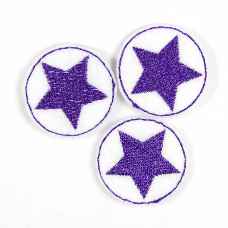 3 small white iron-on patches, 3.5 cm, to iron on with a purple star