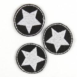 Flicken Bügelbild Aufbügler klein rund 3er Set Stern weiss auf schwarz 3 Bügelbilder mini zum aufbügeln patches Aufbügler