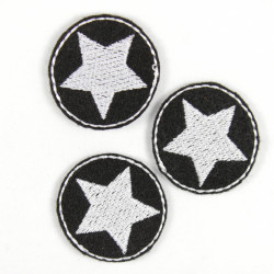 mini iron on patches rund with stars white on black small star patches
