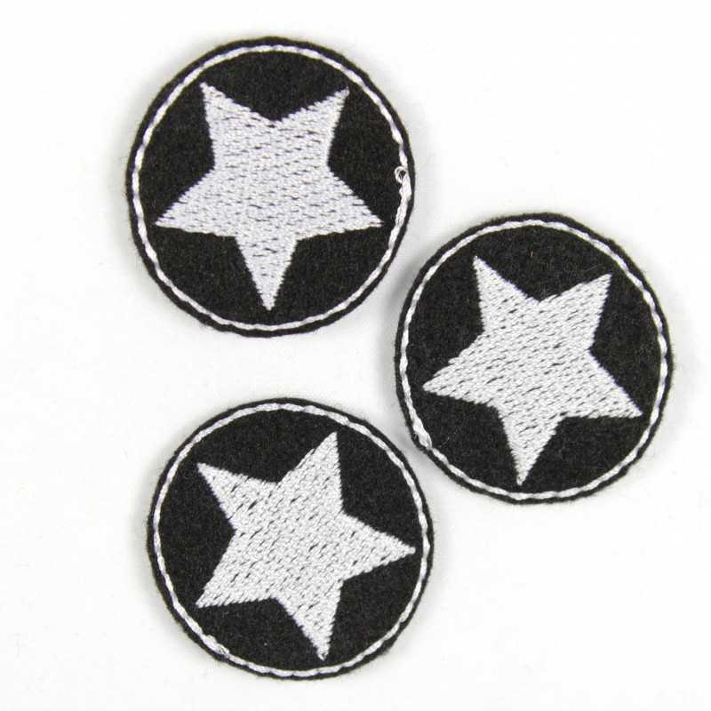 3 small patches to iron on black iron-on patches round patches embroidered with star white