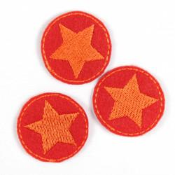 Bügelbild Flicken Aufbügler rund 3er Set klein Stern orange auf rot patches zum Aufbügeln mini Applikation