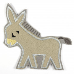 Iron-on patches donkey in fleece as an iron-on appliqué or patch and accessories
