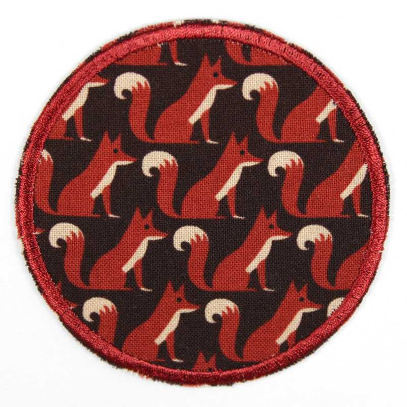 Iron-on patches with a fox motif on a black background, ideal as a knee or trouser patch