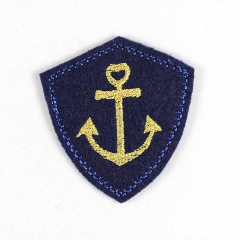 small maritim iron on patch navy blue applique with small golden anchor