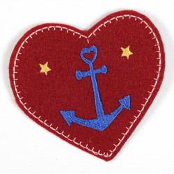 maritime iron-on patches heart with anchor applique dark red patches for adults