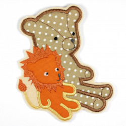 Iron-on patch bear and lion (friends) as an iron-on appliqué or patches and accessories, patch for children