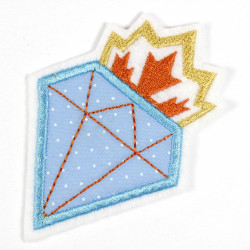 Iron-on patch diamond as iron-on appliqué or patch and accessories