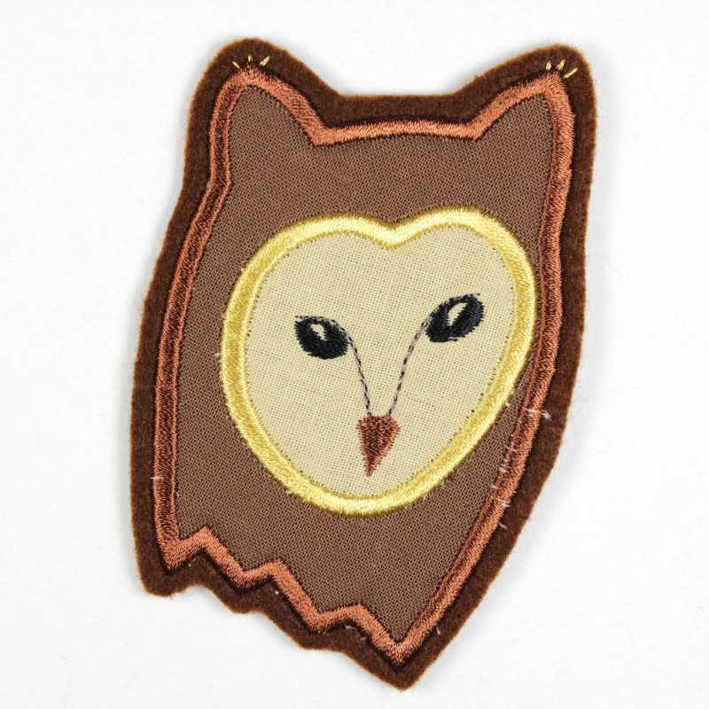 Owl iron-on patch as iron-on appliqué or patch and accessories