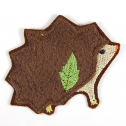 Iron-on patch hedgehog in fleece as an appliqué to iron on or patches and accessories, patches for children