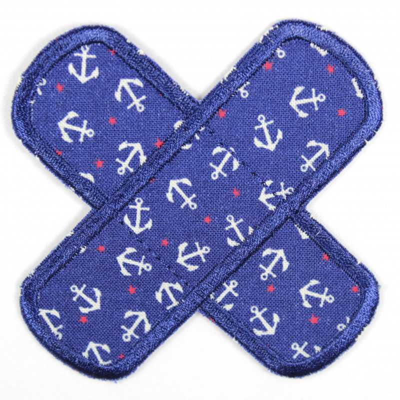 Patches in the shape of a cross with small white anchors to iron on, patches for adults