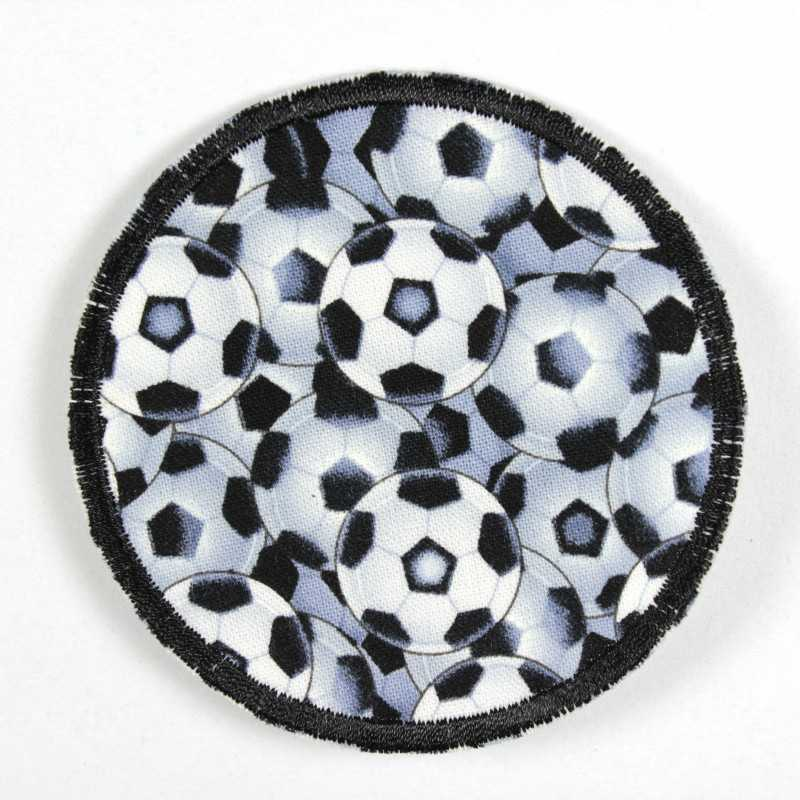 round patch to iron on with footballs in black and white as a motif