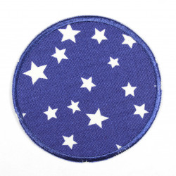 Iron-on patches round in dark blue with white stars, suitable as elbow patches or knee patches