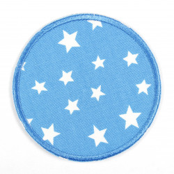 Iron-on patches round in light blue with white stars, suitable as elbow patches or knee patches