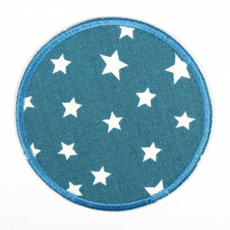 Iron-on patches round in petrol with white stars, suitable as elbow patches or knee patches