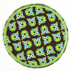Flickli - the patch! round owls on brown