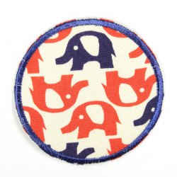 iron-on patches round red and blue elephants blue embroidered trim strong applique for children