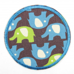 Flickli - the patch! elephants green and blue