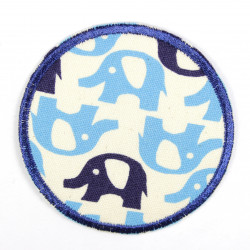 Flickli - the patch! elephants lightblue and blue
