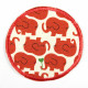 iron-on patches red elephants on white ground with little heart strong applique for childrens pants