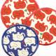 Bügelflicken rote Elefanten Aufbügler weißer Grund feste Flicken zum aufbügeln als Knieflicken