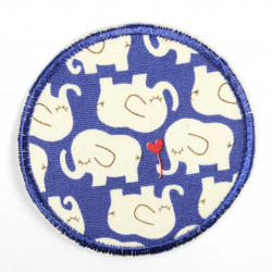 Flickli - the patch! elephants white on blue