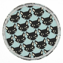 Flickli - the patch! round black cats on lightblue