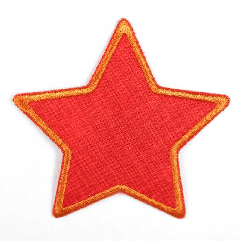 Iron-on patch star with grid red orange, suitable as a knee patch