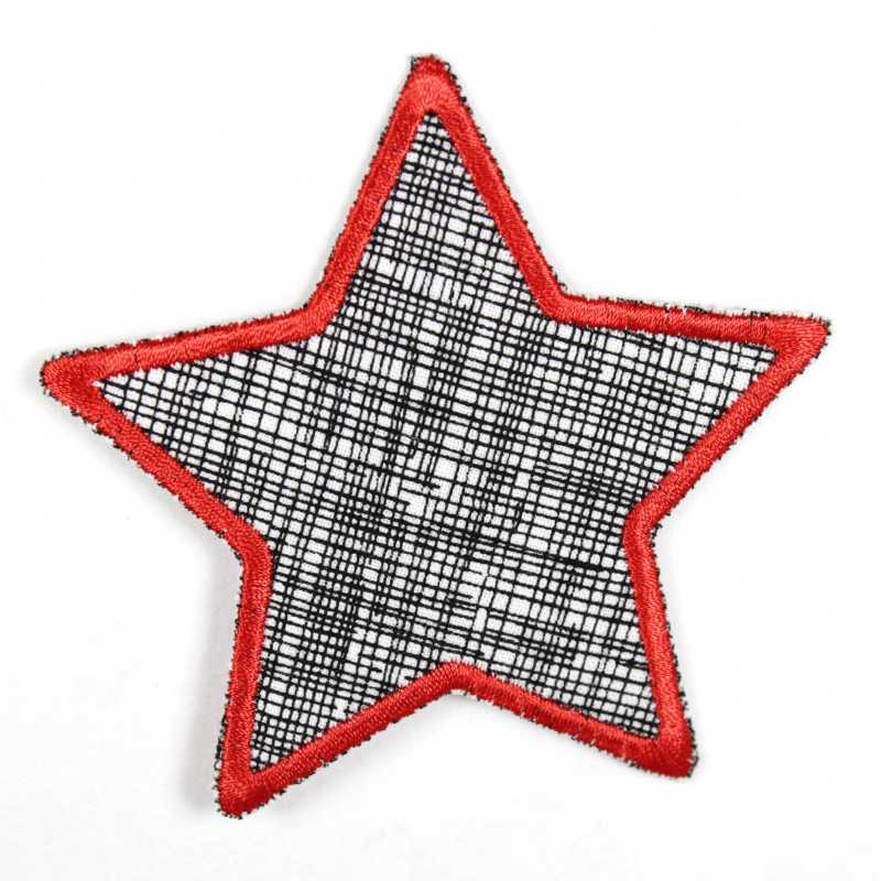 Iron-on patch star with black grid on white and embroidered edge in red, suitable as a knee patch