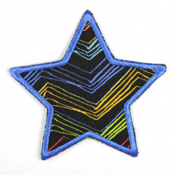 Iron-on patch star with chevron pattern and blue border, suitable as a knee patch