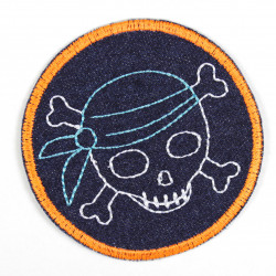 Iron-on patch pirate with a blue headscarf and neon orange border as an appliqué to iron on or a patch and accessories