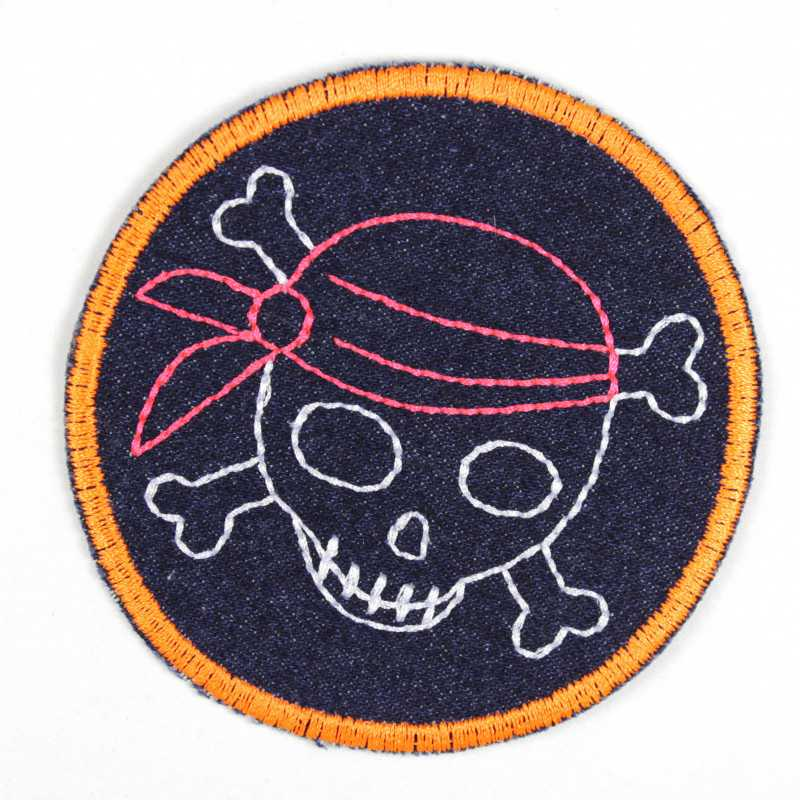 Iron-on patch pirate with pink headscarf and neon orange border as an iron-on appliqué or patch and accessories