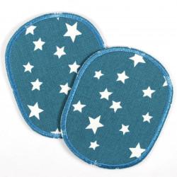 Buegelflicken Set retro Sterne Flicken weiss auf petrol 2 Knieflicken 10 x 8 cm Aufbügler Patches Hosenflicken