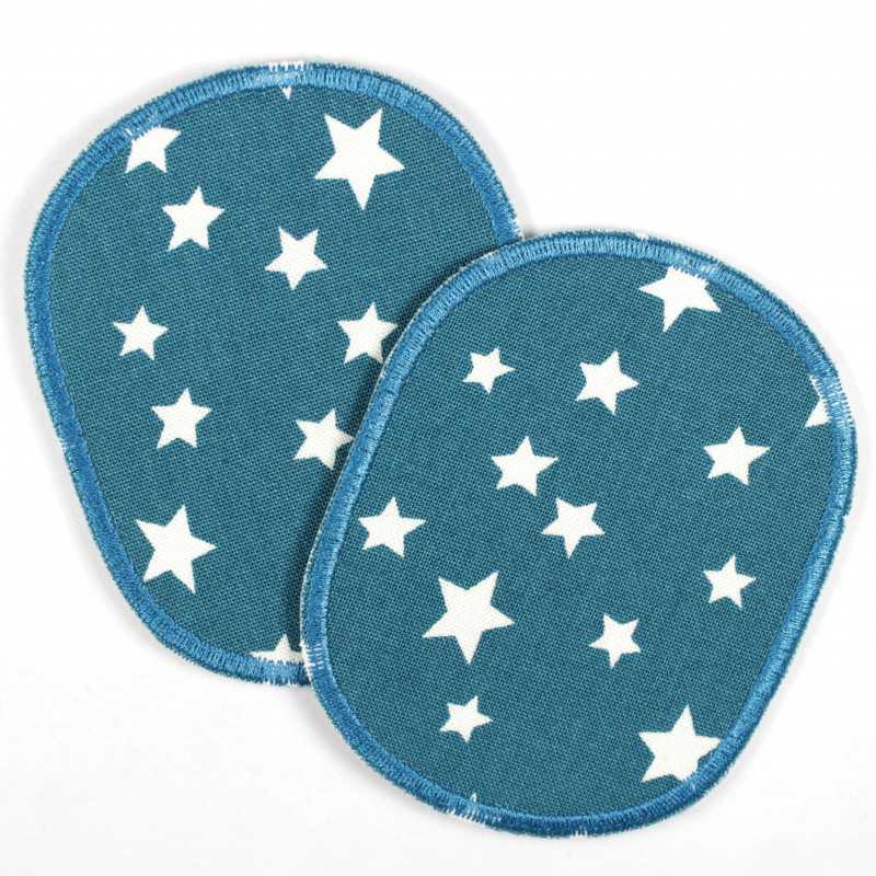 2 round patches in petrol with white stars in a set, ideal as knee patches