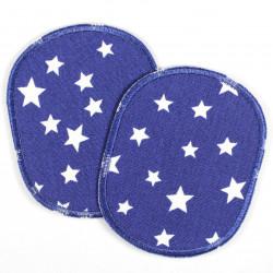Flicken Set retro Sterne Knieflicken weiss auf dunkelblau 2 Hosenflicken 10 x 8 cm Buegelflicken Aufbuegler für Kinder