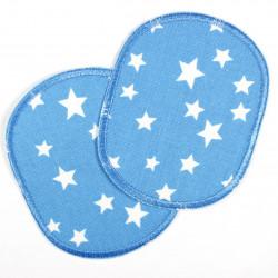 Knieflicken mit Sterne Set retro weiss auf hellblau 2 Flicken Buegelflicken 10 x 8 cm Aufbuegler für Kinder Hosenflicken