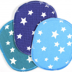 3 different blue knee and pants iron on patches with white starlets