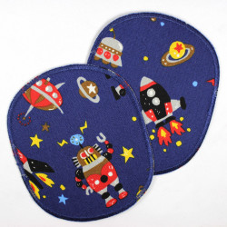 2 large appliques for pants rockets and robots on dark blue strong iron-on patches