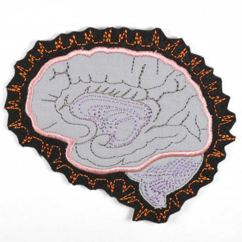 Iron-on patch brain as appliqué to iron on or patches and accessories, patches for adults
