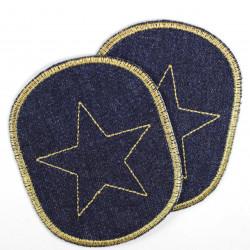 Bügelflicken Set Jeans zum aufbügeln gestickter Stern gold Aufbügler geeignet als Knieflicken und Hosenflicken