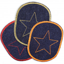 iron-on patches denim jeans blue embroidered golden star appliques for children