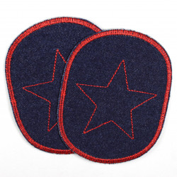 Flicken Set Jeans dunkelblau mit rotem Stern retro Bügelflicken 10 x 8 cm Aufbuegler 2 Stück Knieflicken für Kinder Hosenflicken