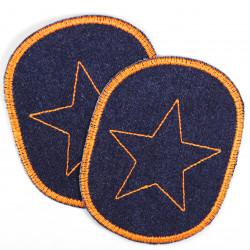 Flicken Set retro Jeans Knieflicken dunkelblau mit Stern orange 10 x 8 cm Buegelflicken Aufbuegler Hosenflicken